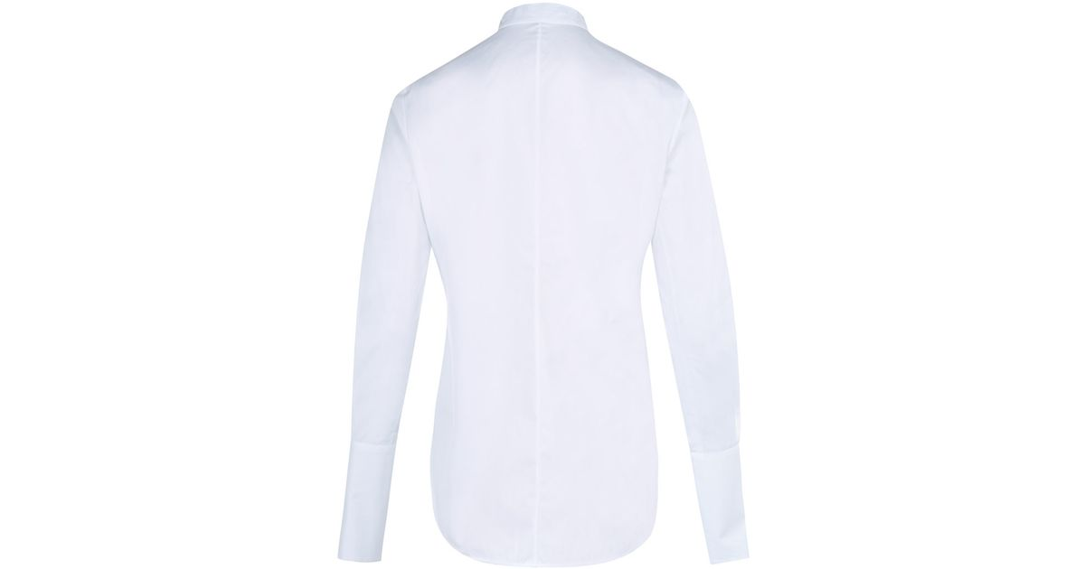 1632e7121d76 Alexander McQueen Cotton Poplin Ribbon Neck Tie Shirt in White - Lyst