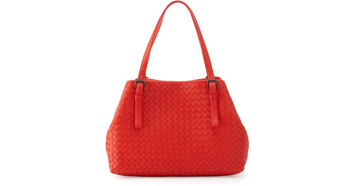 0e32a4e38 Bottega Veneta Intrecciato Medium A-shaped Tote Bag in Red - Lyst