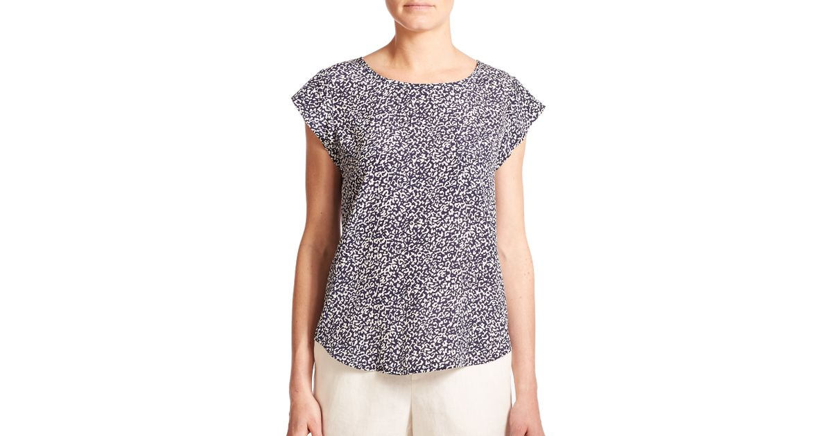 89131c80d8e4f Lyst - Joie Rancher Silk Animal-print Top in Blue
