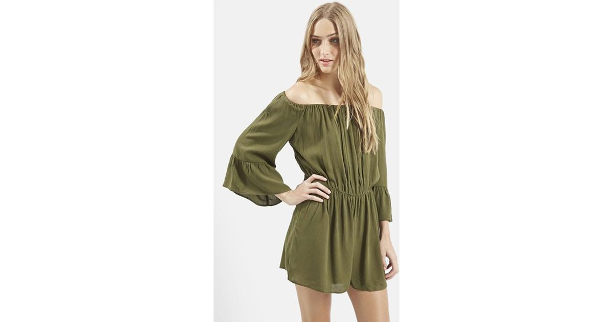 3131ee693168 Lyst - TOPSHOP Crinkly Off The Shoulder Romper in Green