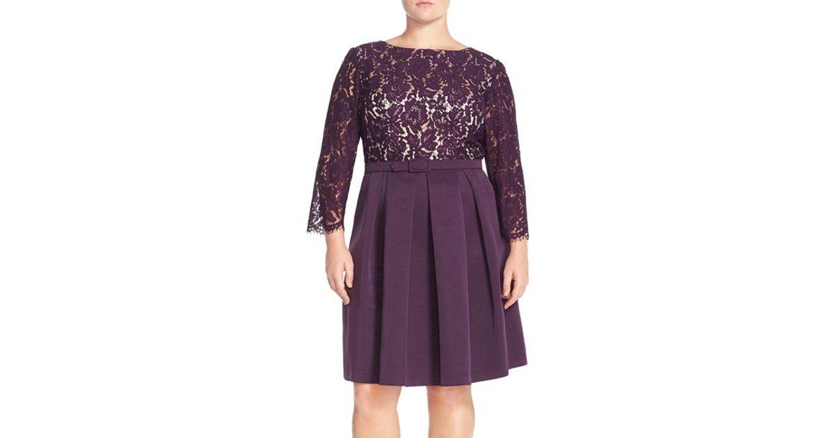4b92447db0 Lyst - Eliza J Lace Bodice Fit   Flare Dress in Purple