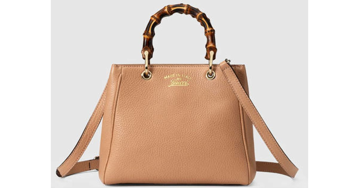 22abcf9431cb Gucci Bamboo Shopper Leather Mini Bag in Natural - Lyst