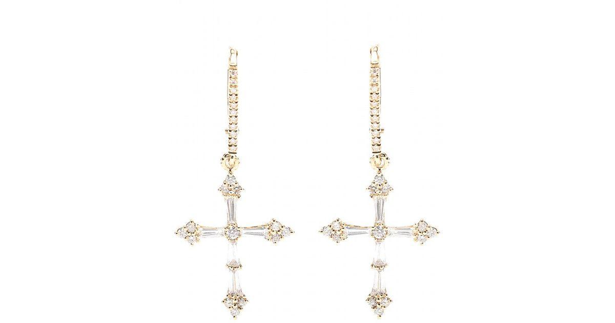 Lyst Stone Heaven 18kt Gold Cross Earrings With White Diamonds In Metallic