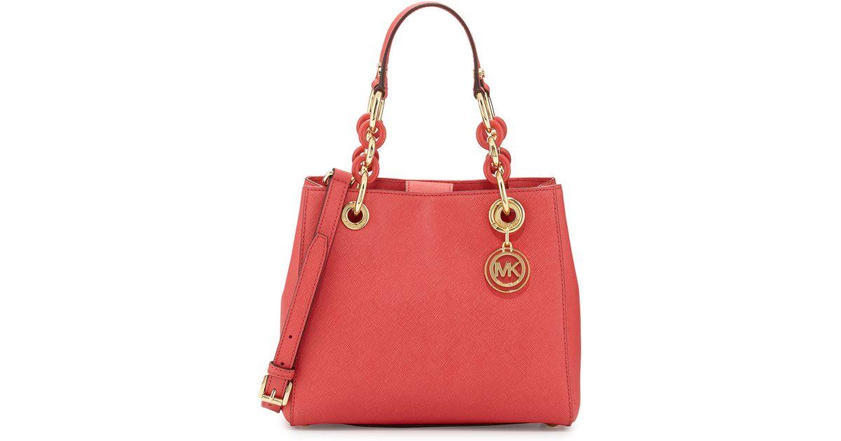 ... Michael michael kors Cynthia Small Satchel Bag in Red Lyst Michael Kors  Cynthia Medium Leather ... 7be57035eb3