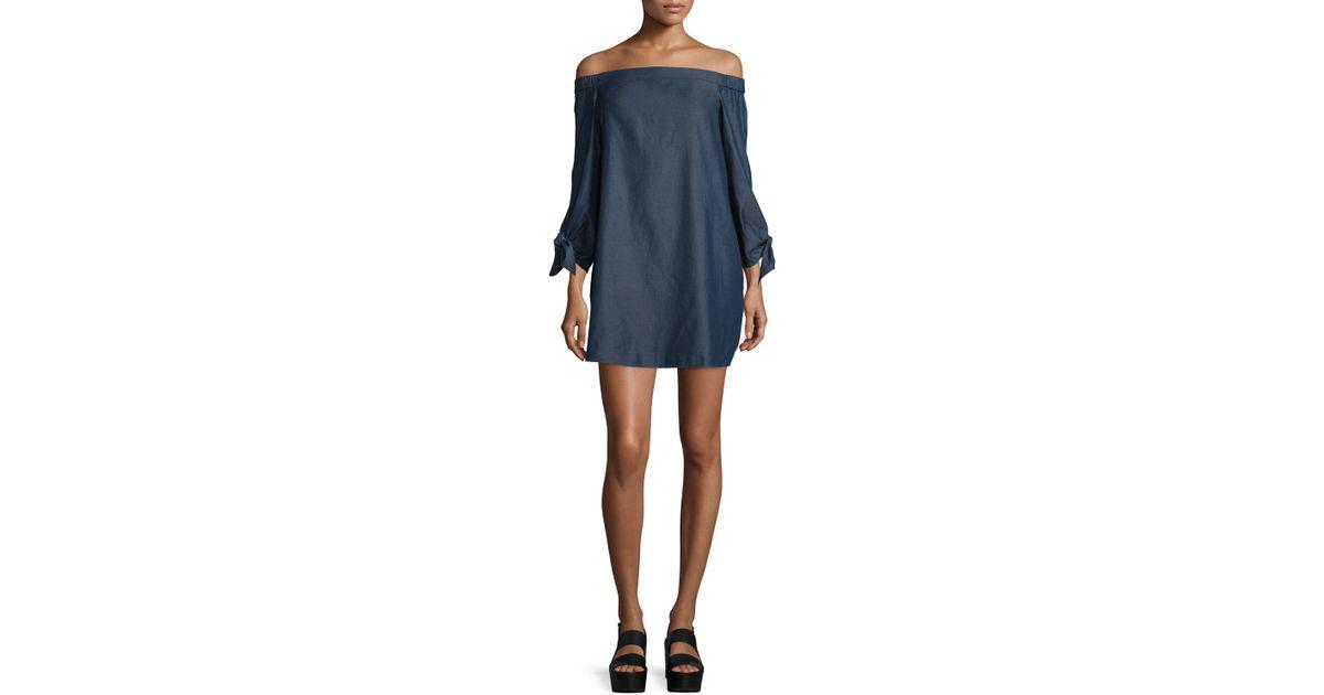 916d8138840d Lyst - Tibi Chambray Off-the-shoulder Mini Dress in Blue