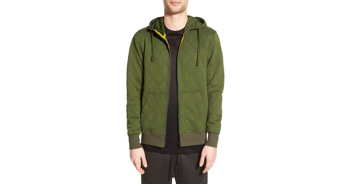 g star raw quilted zip hoodie in green for men lyst. Black Bedroom Furniture Sets. Home Design Ideas