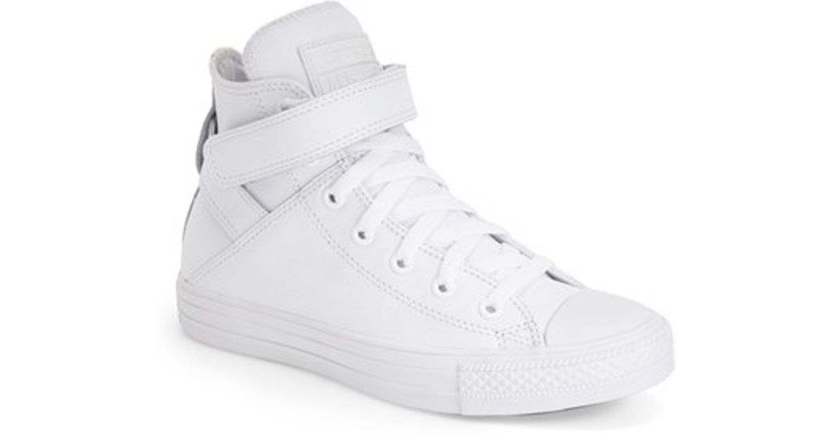 1209268ebaea Lyst - Converse Chuck Taylor All Star  Brea  Leather High Top Sneaker in  White