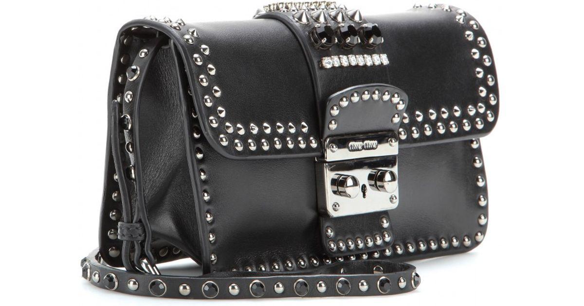2a95664fdfad ... Lyst - Miu Miu Studded Leather Shoulder Bag in Black better ce842 b9460  ...