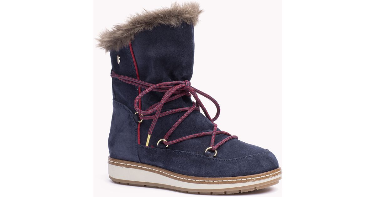 TOMMY HILFIGER Wooli Suede Snow Boots Womens Shoes & Boots Womens Footwear COLOUR-cognac