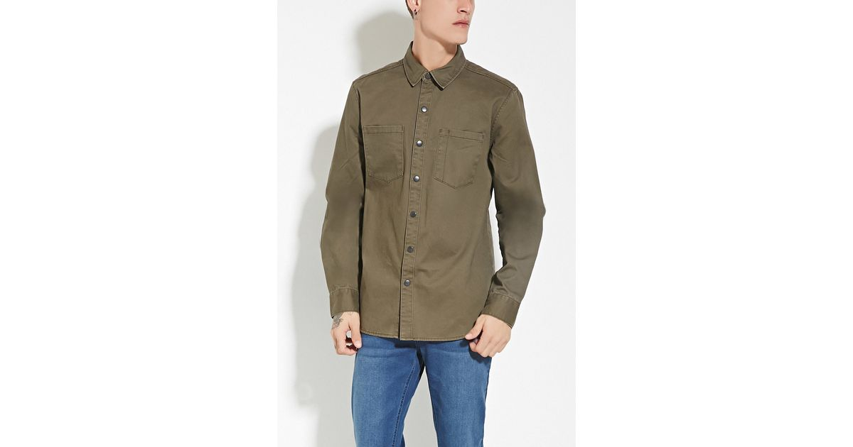 forever 21 two pocket cotton shirt in green for men lyst