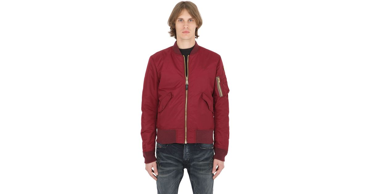 american college usa schott nylon bomber jacket in red for men burgundy lyst. Black Bedroom Furniture Sets. Home Design Ideas