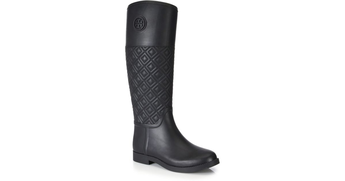 Tory burch Marion Quilted Rubber Rain Boots in Black | Lyst : tory burch quilted boots - Adamdwight.com