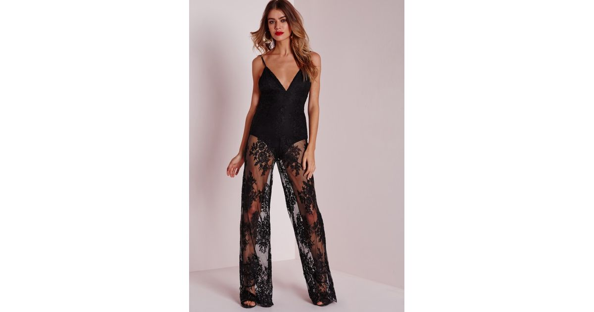 323b3585e9b966 Lyst - Missguided Lace Bodysuit Wide Leg Jumpsuit Black in Black