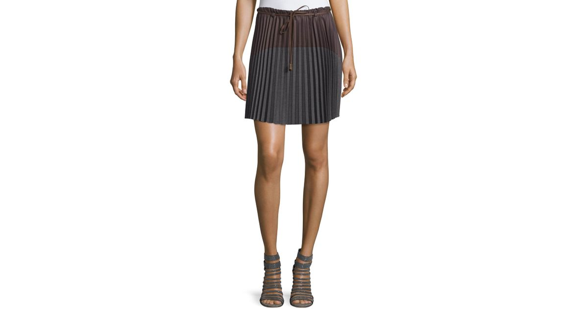 f09b103f73 Lyst - Brunello Cucinelli Colorblock Pleated Skirt in Brown