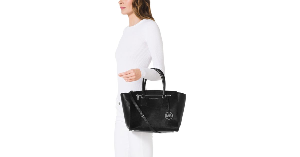 d1439103b440 Lyst - MICHAEL Michael Kors Large Sophie Calf-hair Satchel in Black