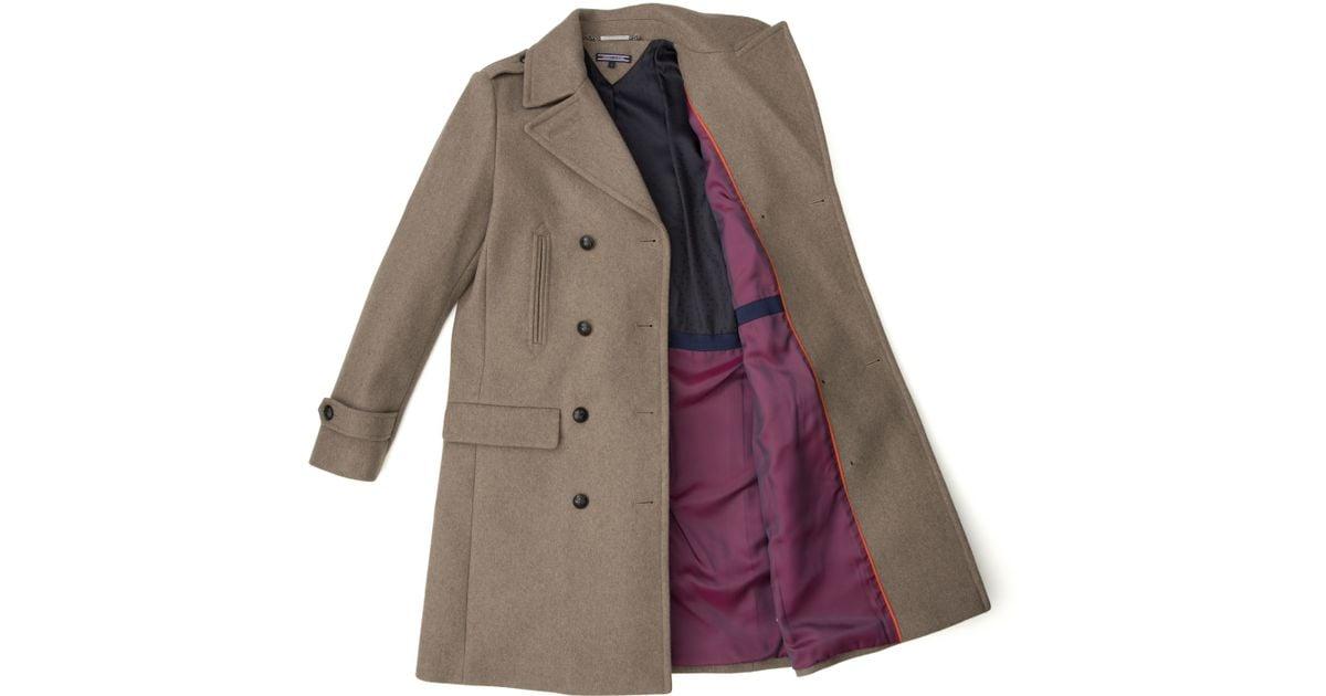 tommy hilfiger tate wool coat in natural lyst. Black Bedroom Furniture Sets. Home Design Ideas