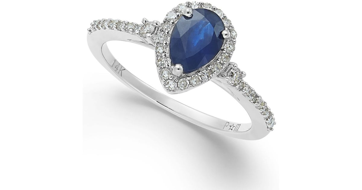 Macy s Sapphire 7 8 Ct T w And Diamond 1 4 Ct T w Ring In 14k Whi