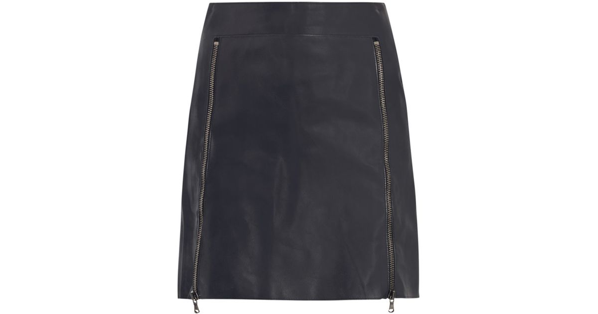 3.1 phillip lim Zip Front Leather Skirt in Blue | Lyst