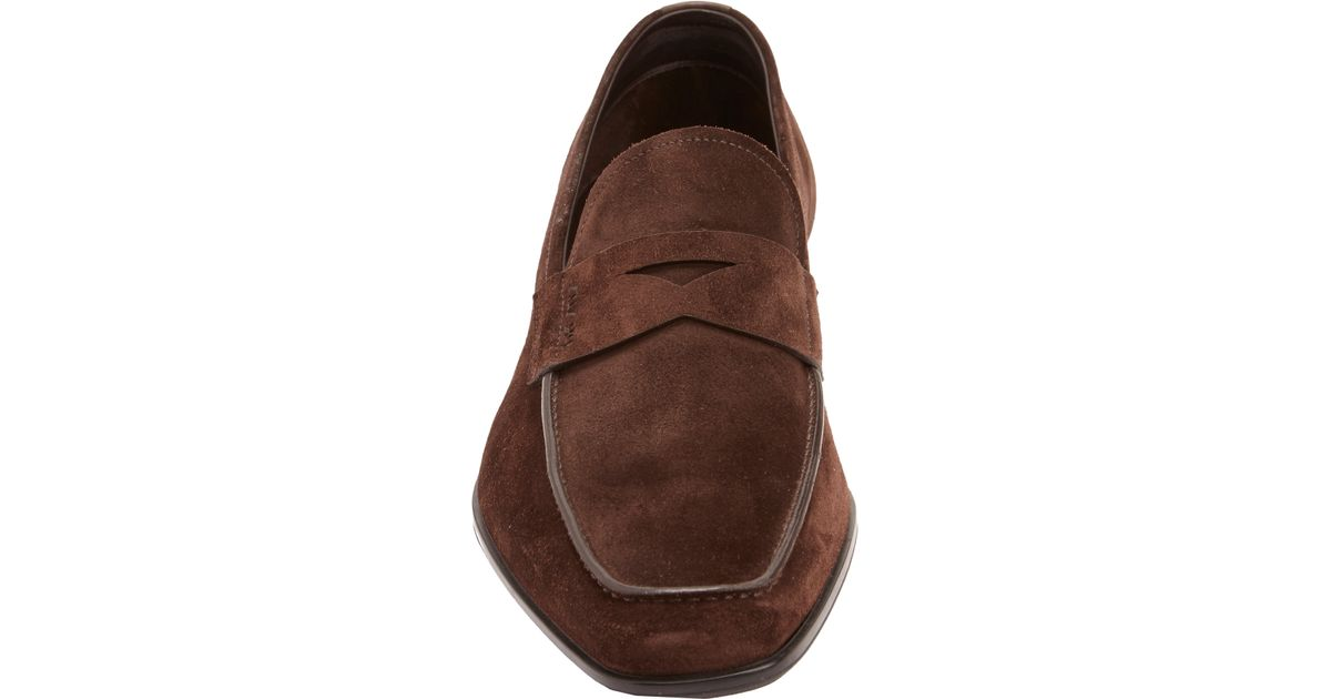 Lyst - Prada Suede Penny Loafers in Brown for Men 27a99369e