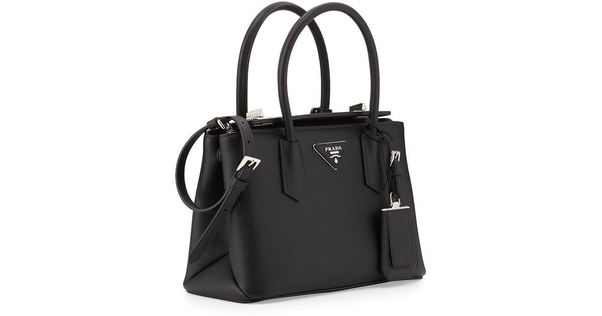 f26e289ea6ed Lyst - Prada Saffiano Cuir Twin Bag in Black