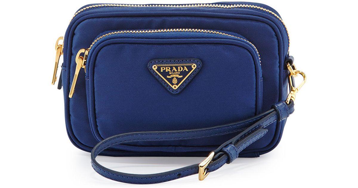 c660653cafdc Prada Tessuto Small Pocket Crossbody Bag in Blue - Lyst