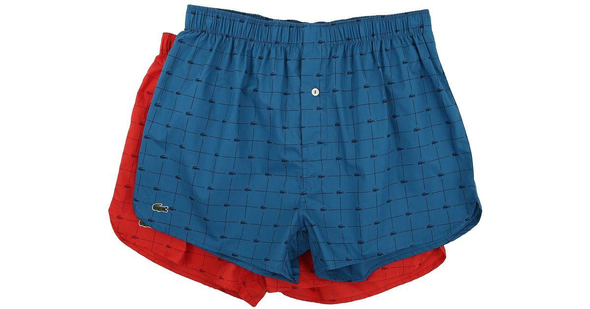 6c64338006a8 Lyst - Lacoste Authentics Woven Boxer 2-pack Croc Boxer in Blue for Men