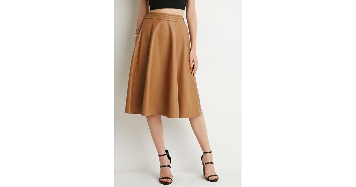 77de23e55 Forever 21 Faux Leather A-line Skirt in Brown - Lyst