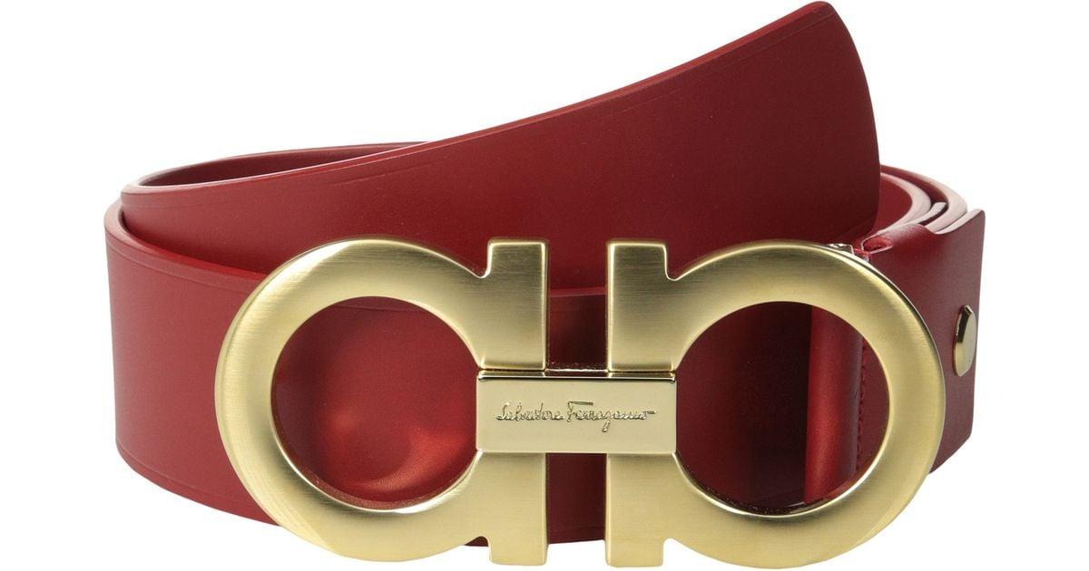 4a972f02fb16 Lyst - Ferragamo Double Gancini Adjustable Belt 679068 in Red for Men