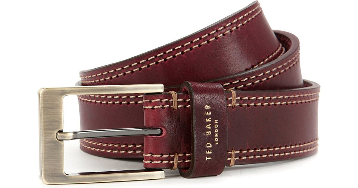 99a928af5440c Ted Baker Crikitt Cricket-stitch Leather Belt Red in Red for Men - Lyst