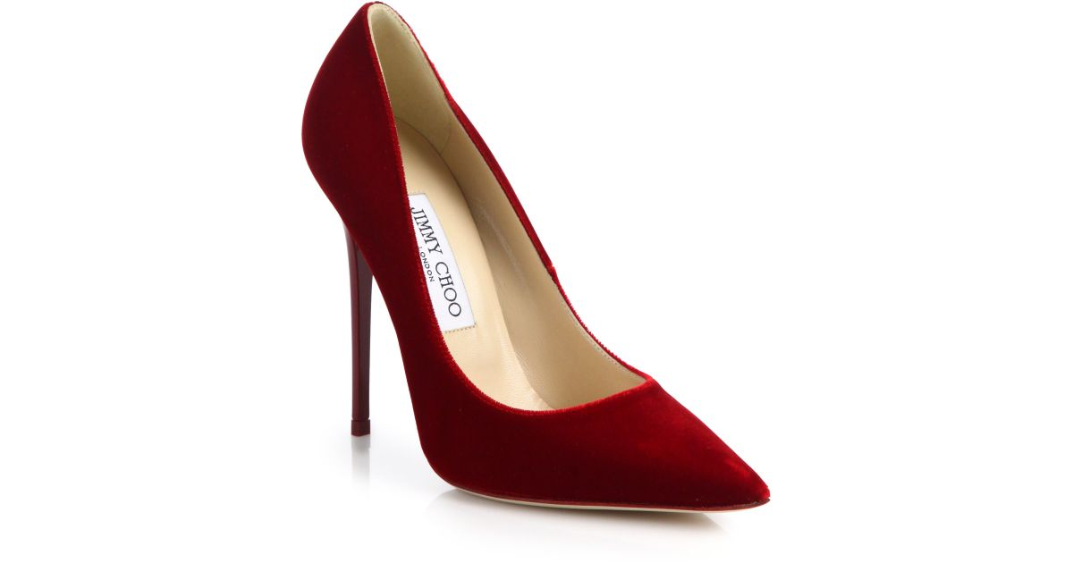 2bb8c6b62619e Lyst - Jimmy Choo Anouk Velvet Point-toe Pumps in Red