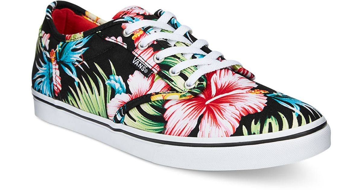 5f757e7fd7e09d Lyst - Vans Women s Atwood Low Aloha Lace-up Sneakers in Black