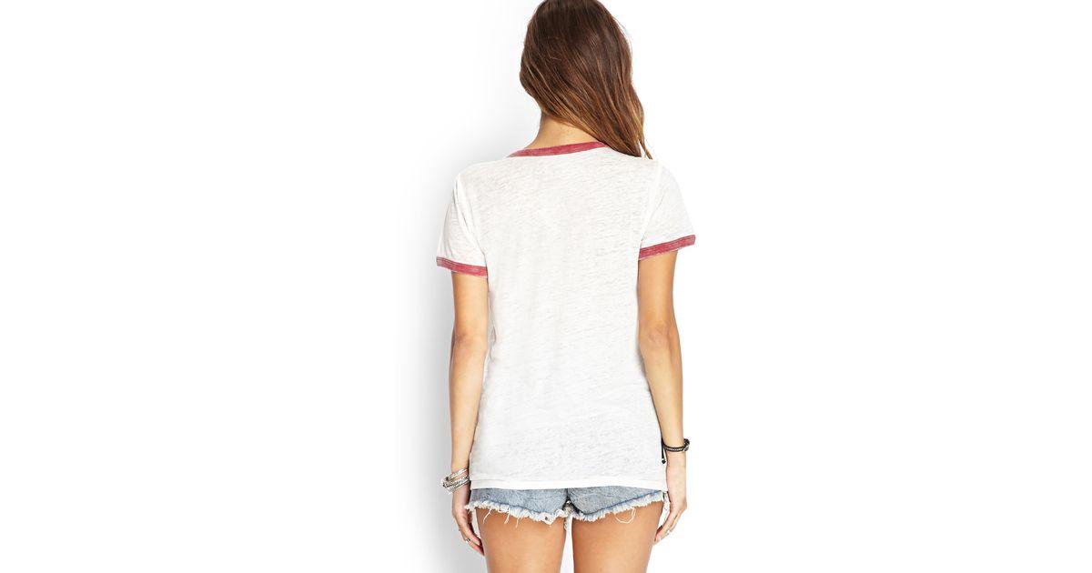 eb0ba245633216 Lyst - Forever 21 Ren   Stimpy Ringer Shirt in White