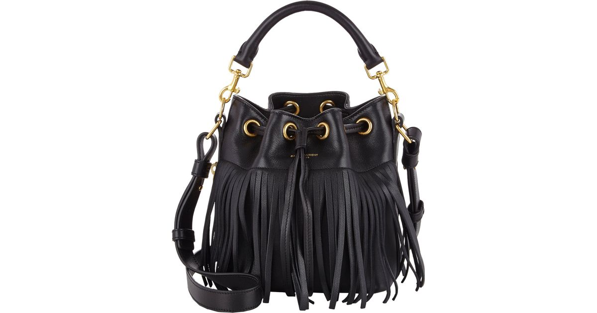 c564fd7776 Saint Laurent Emmanuel Bucket Bag in Black - Lyst