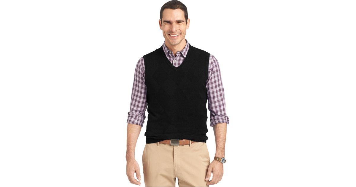 2878c839f336 Lyst - Van Heusen Big And Tall Solid Argyle Vest in Black for Men