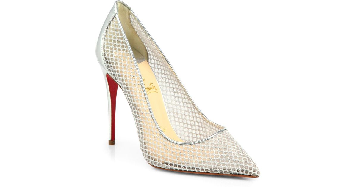 Lyst Louboutin Christian Resille amp; Follies Fishnet Pumps Leather rBrw5Sqp