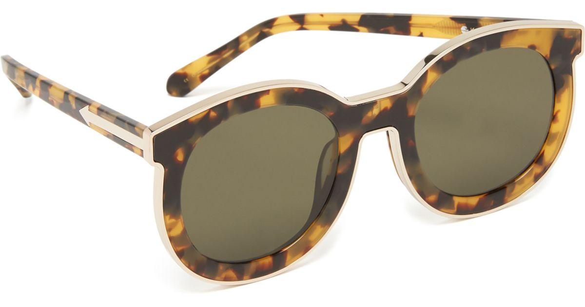 e54c2f3a1751 Lyst - Karen Walker Super Spaceship Flat Lens Sunglasses in Brown