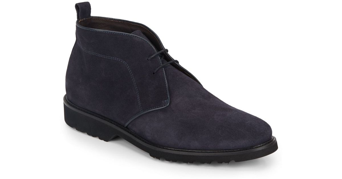 bruno magli wender suede chukka boots in blue for lyst