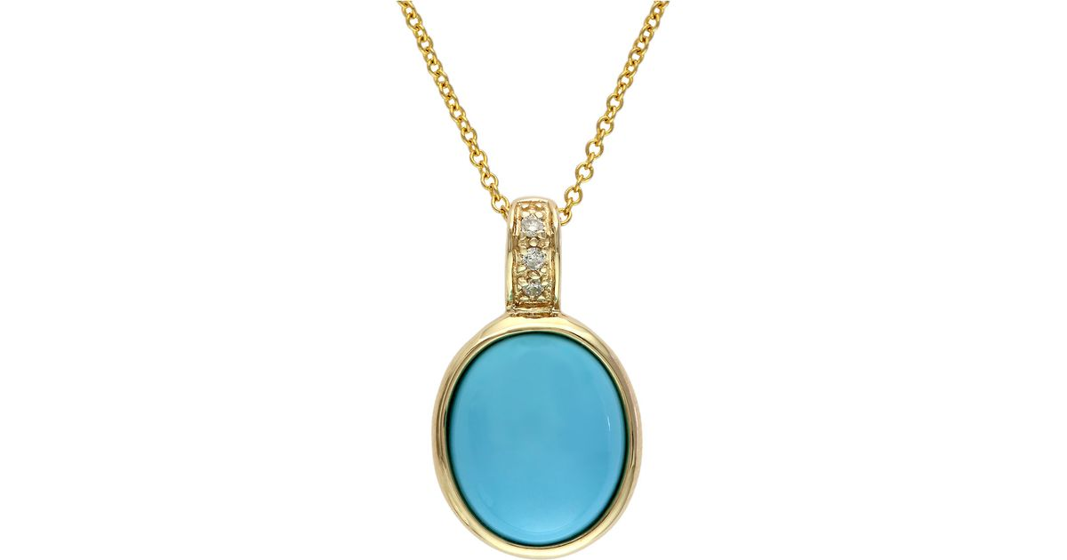 Effy turquesa 14 kt gold and turquoise pendant necklace with effy turquesa 14 kt gold and turquoise pendant necklace with diamond accents in metallic lyst aloadofball