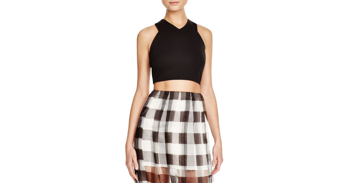 Lyst - Kendall + Kylie Luxe Knit Halter Top in Black