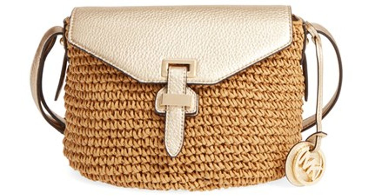 ecc209dc9 MICHAEL Michael Kors Medium Naomi Straw Cross-Body Bag in Brown - Lyst