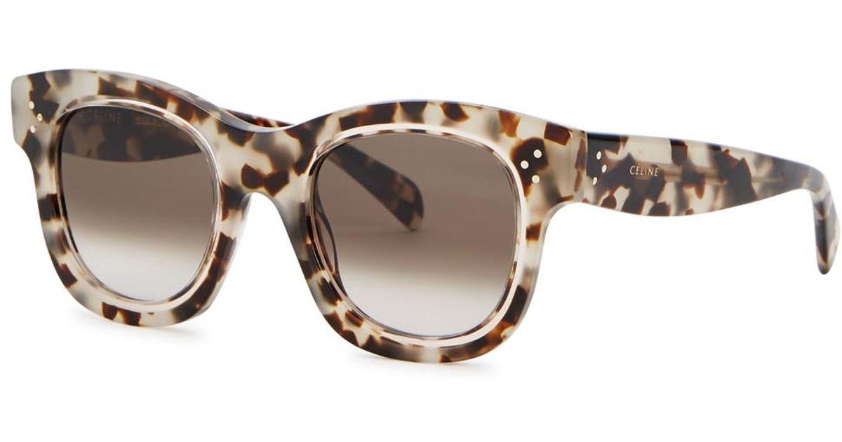 2123ac3eedb Céline Helen Tortoiseshell Wayfarer-style Sunglasses in Brown - Lyst