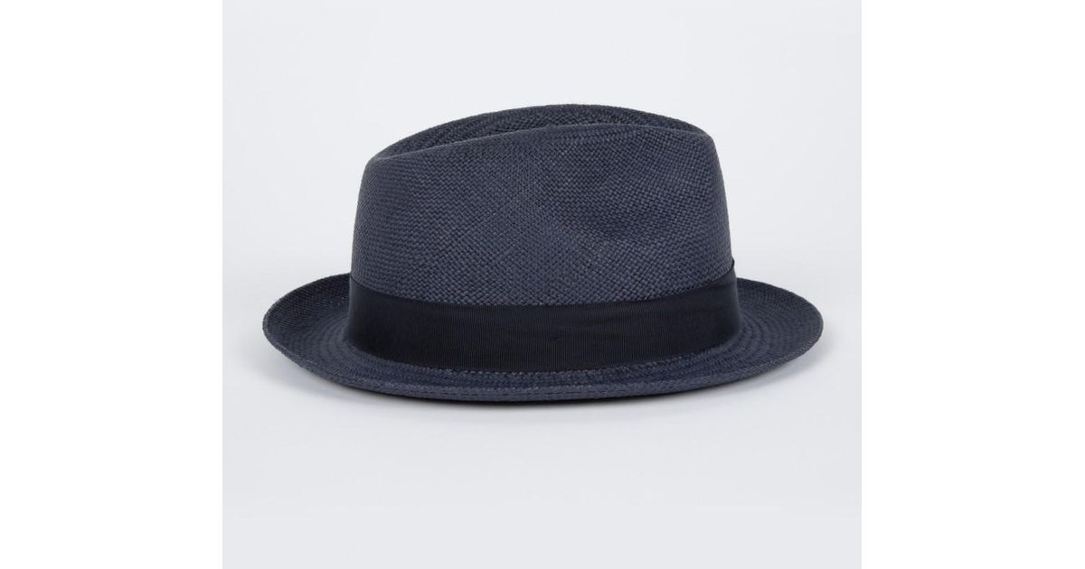 daeae85bbc8 Paul Smith Christys  Navy Straw Panama Trilby Hat in Blue for Men - Lyst