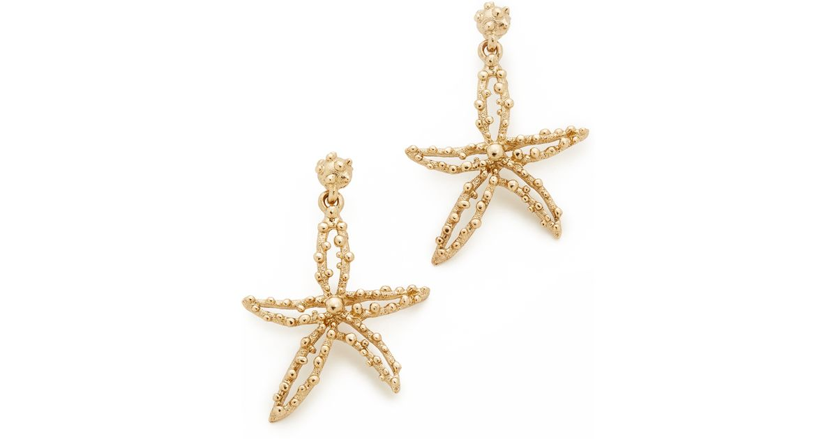 Lyst Oscar De La Renta Starfish Earrings in Metallic