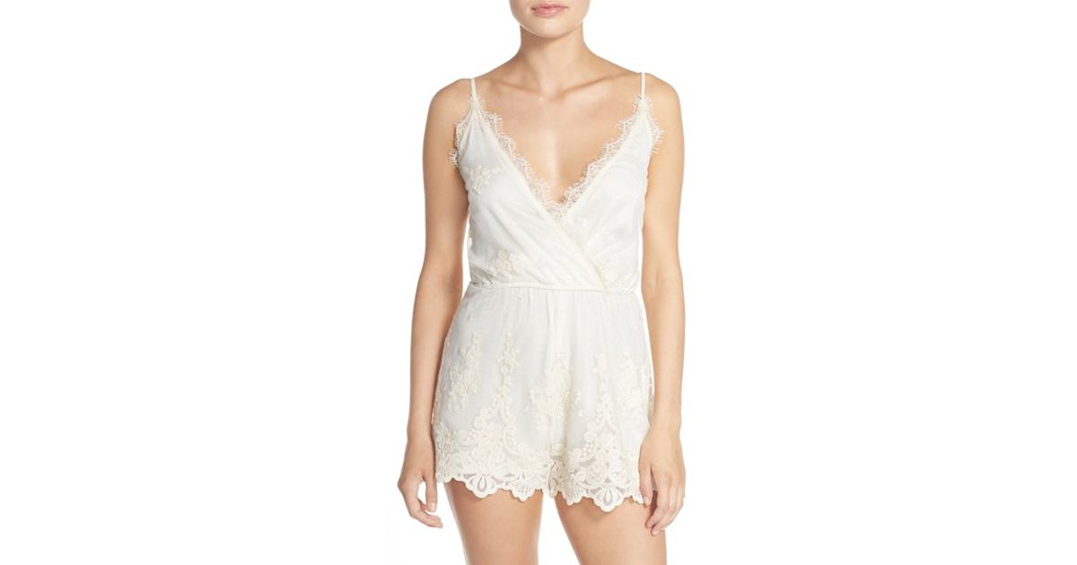 bfd892f89812 Lyst - Band Of Gypsies Embroidered Mesh Romper in White