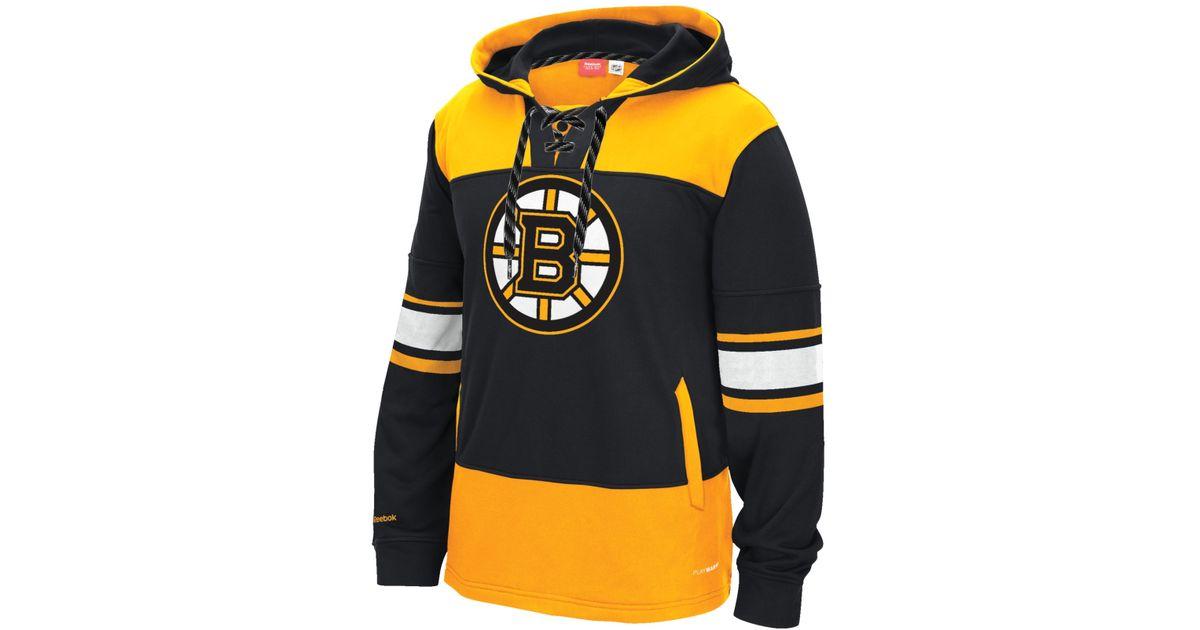 Lyst - Reebok Men s Boston Bruins Jersey Hoodie in Black for Men 908aa0130
