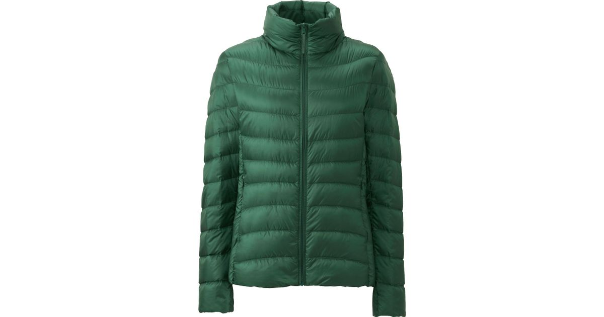 uniqlo women ultra light down jacket in green dark green lyst. Black Bedroom Furniture Sets. Home Design Ideas