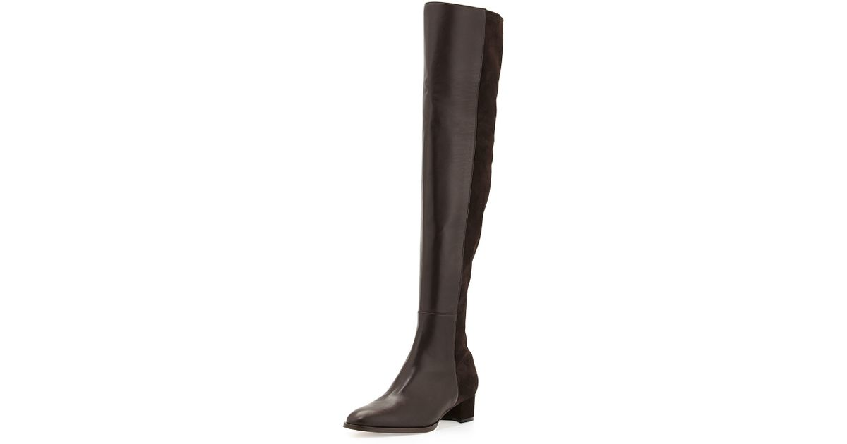 ba8d4719e15 Lyst - Manolo Blahnik Pampahi Leather Over-The-Knee Boots in Brown