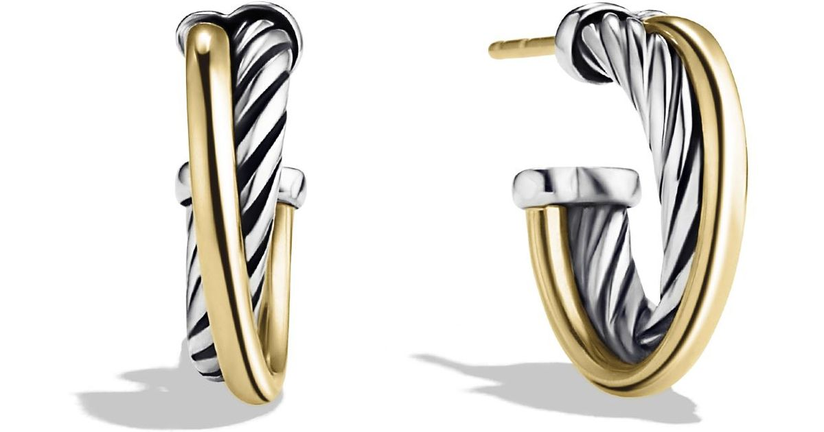 Lyst David Yurman Crossover Extra Small Hoop Earrings With Gold In Metallic