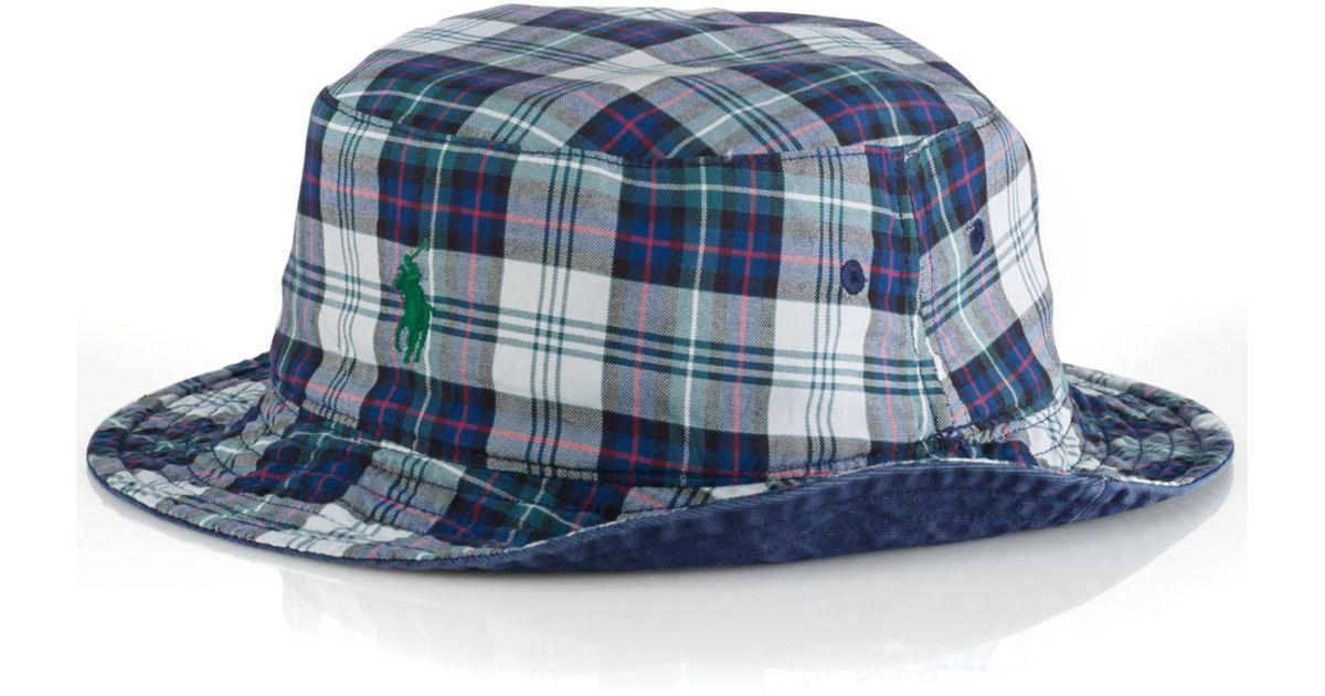 6567bd8d436c9 Polo Ralph Lauren Reversible Tartan Bucket Hat in Blue for Men - Lyst