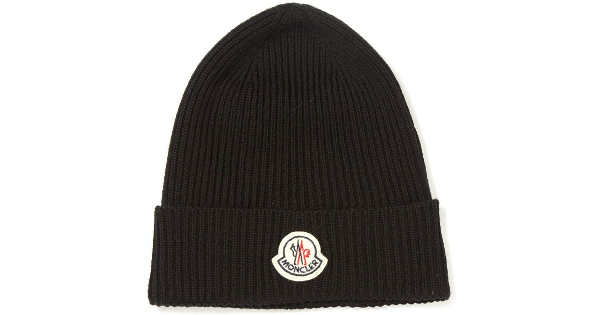 Lyst - Moncler Black Ribbed-knit Wool Beanie Hat in Black for Men addbe5fbdfe